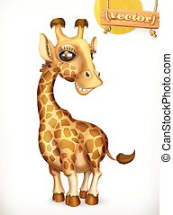 Giraffe cartoon character. Funny animals 3d vector icon
