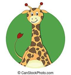 Giraffe cartoon flat icon