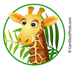 Vector illustration of giraffe cartoon button