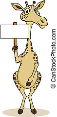 Giraffe cartoon with blank sign