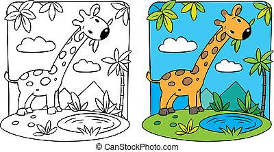 Giraffe. Coloring book