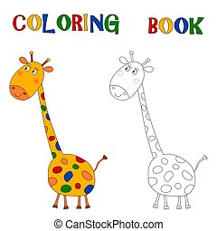 Giraffe - Coloring book - Colorful graphic illustration for...