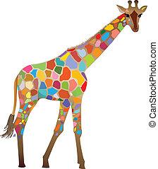 Colourful mosaic-like giraffe