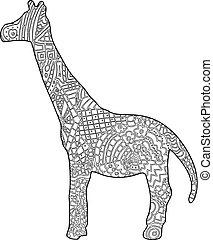 Giraffe colouring book illustration