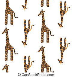 Giraffe cute vector seamless pattern. Safari animal texture spots child background.