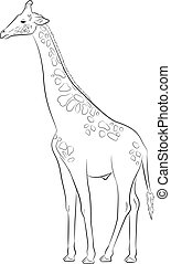 Giraffe Drawing Vector Illustration