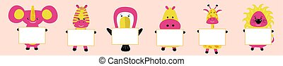 giraffe, elephant, toucan, hippopotamus, hippo, lion, zebra with the image of the head. Pink cheeks. Cute cartoon character. T-shirt design. Baby pets collection background. Flat design vector.