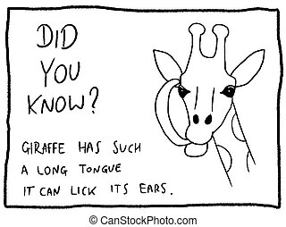 Animal facts about giraffe - fun trivia cartoon doodle concept. Newspaper funny comic fact.