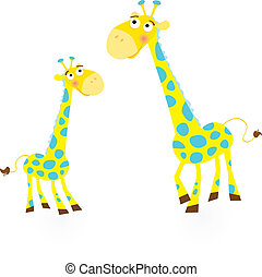 Giraffe family - Vector Illustration of giraffe mother and...