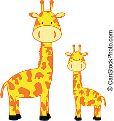 giraffe family3 - giraffe family in vector format