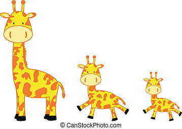 giraffe family in vector format