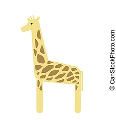 Giraffe. Flat vector illustration. Isolated on white background.