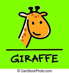 giraffe hand-drawn style,Vector illustration.