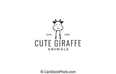 giraffe head face line smile cute cartoon logo vector illustration design