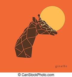 Giraffe head geometric lines silhouette isolated on orange background.