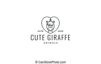 giraffe head line love cute cartoon logo vector  illustration