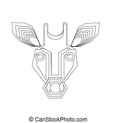 giraffe head vector black and white