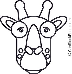 giraffe head vector line icon, sign, illustration on background, editable strokes