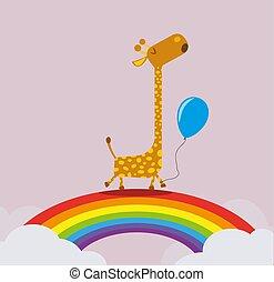 giraffe holding balloon walking on rainbow greeting card template