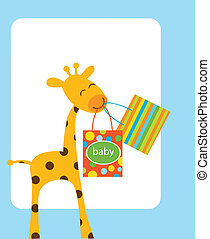 giraffe holding shopping bags for baby, vector