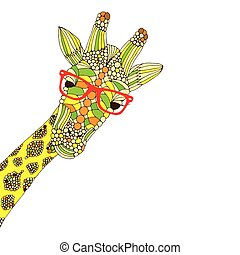 giraffe with red glasses