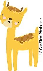 Giraffe, illustration, vector on white background.