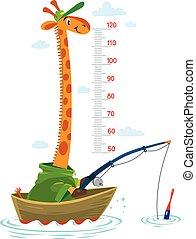 Giraffe in a fishing boat Meter wall or height chart