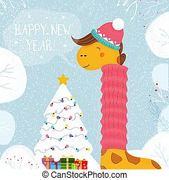 Giraffe in Hat and Scarf Decorated Christmas Tree