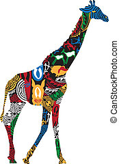 Giraffe in the African ethnic pattern on a white background