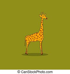 Giraffe Isolated on a Green Background