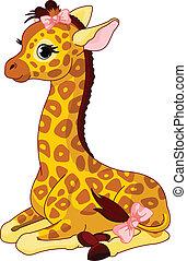 giraffe kalf, met, boog