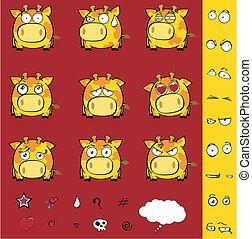 giraffe, karikatur, kugel, satz