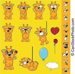 giraffe, karikatur, set1