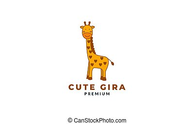 giraffe kids smile cute cartoon logo vector illustration