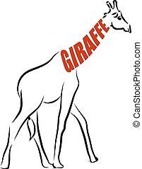 giraffe lettering illustration