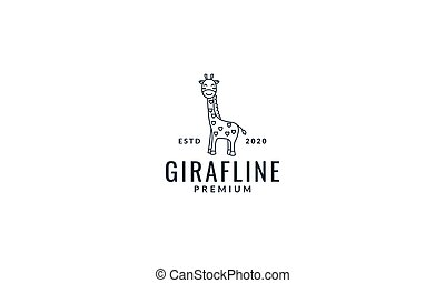 giraffe line smile cute cartoon logo vector illustration