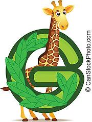 giraffe, met, alfabet, g