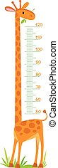 Cheerful children's giraffe meter wall from 50 to 120 centimeter
