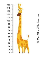 Giraffe meter wall or height chart vector illustration
