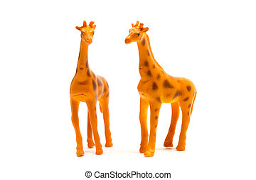giraffe model isolated on white background, animal toys plastic