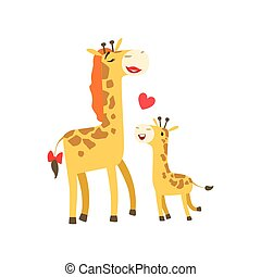 Giraffe Mom With Lipstick Animal Parent And Its Baby Calf Parenthood Themed Colorful Illustration With Cartoon Fauna Characters