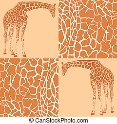 giraffe, motieven, voor, behang