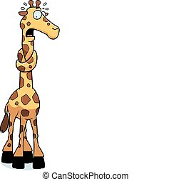 A cartoon giraffe with his neck in a knot.