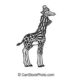 Giraffe neck is wrapped in scarf and winter hat sketch engraving vector illustration. T-shirt apparel print design. Scratch board imitation. Black and white hand drawn image.