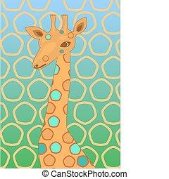 giraffe on  blue-green