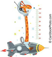 Cheerful funny giraffe on space rocket. Height chart or meter wall or wall sticker. Childrens vector illustration with scale from 50 to 120 centimeter to measure growth