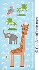 Giraffe parrot bird and palms on blue background Children height meter wall sticker. Vector