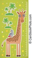 Giraffe parrot bird and palms on green background Children height meter wall sticker. Vector