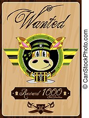 Giraffe Pirate Wanted Poster