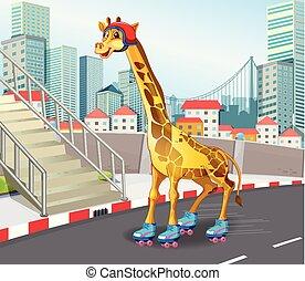 Giraffe playing roller skate illustration